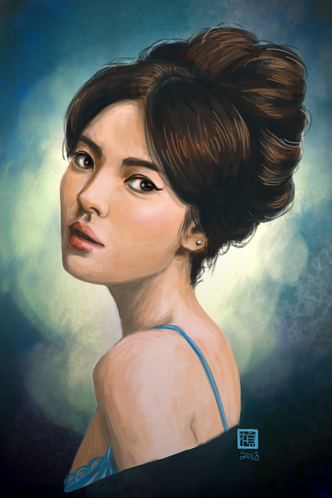 Jennifer Huang,  Digital Painting Portraits, Song Hye Gyo