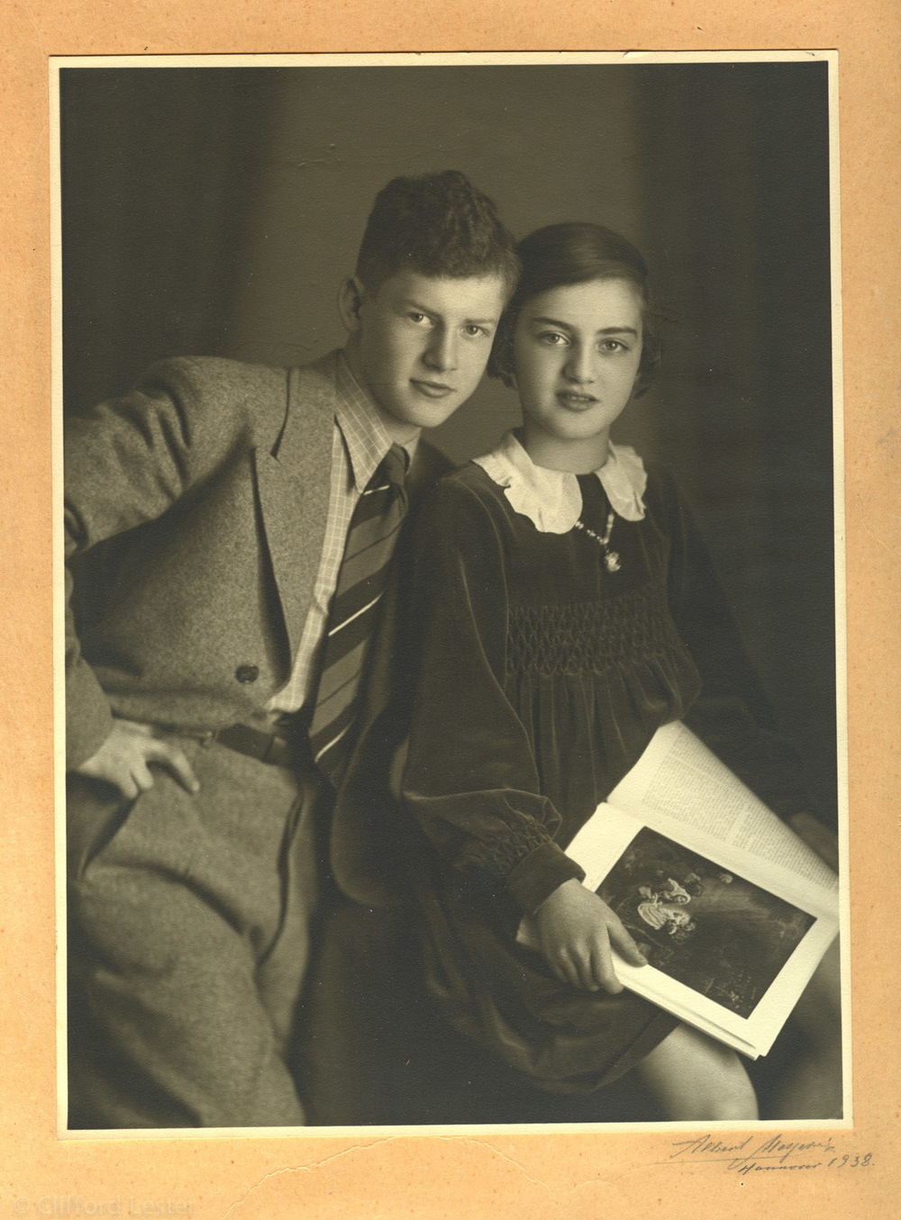 My mother, Ursula, with her brother Ernst, in Hannover, 1938.