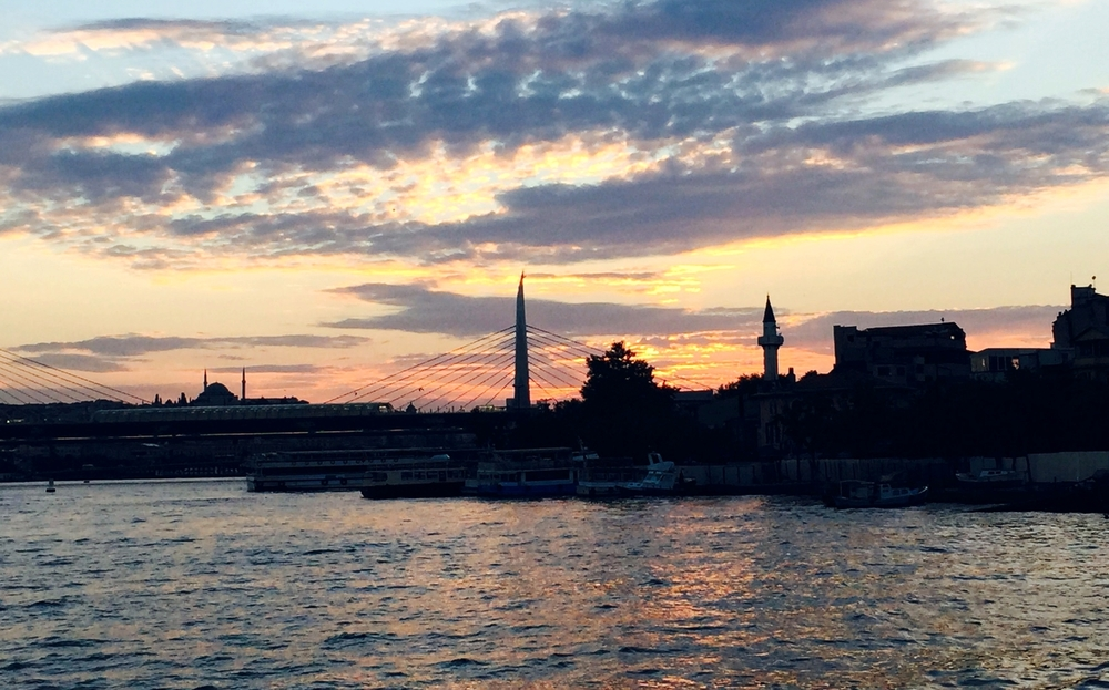 Sunset in Istanbul from the Galata Bridge