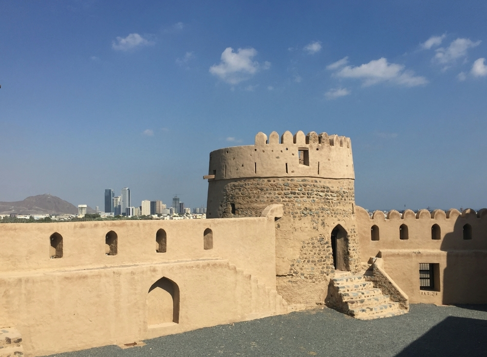 Fujairah Fort with modern Fujairah