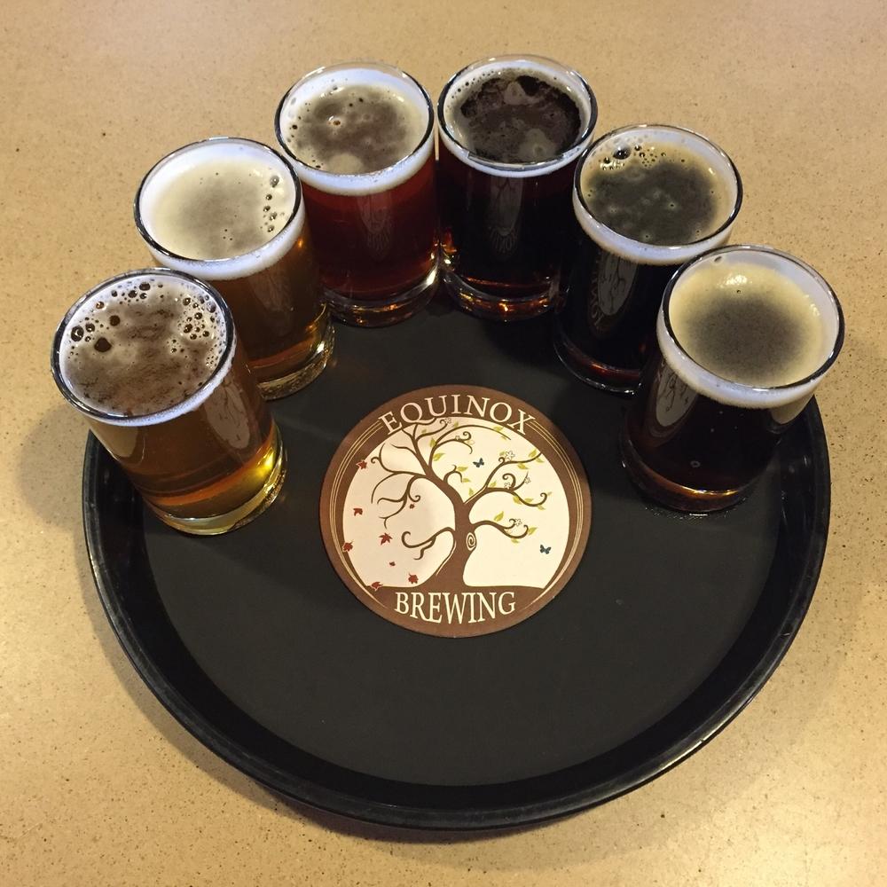 Beer flight at Equinox Brewing in Fort Collins