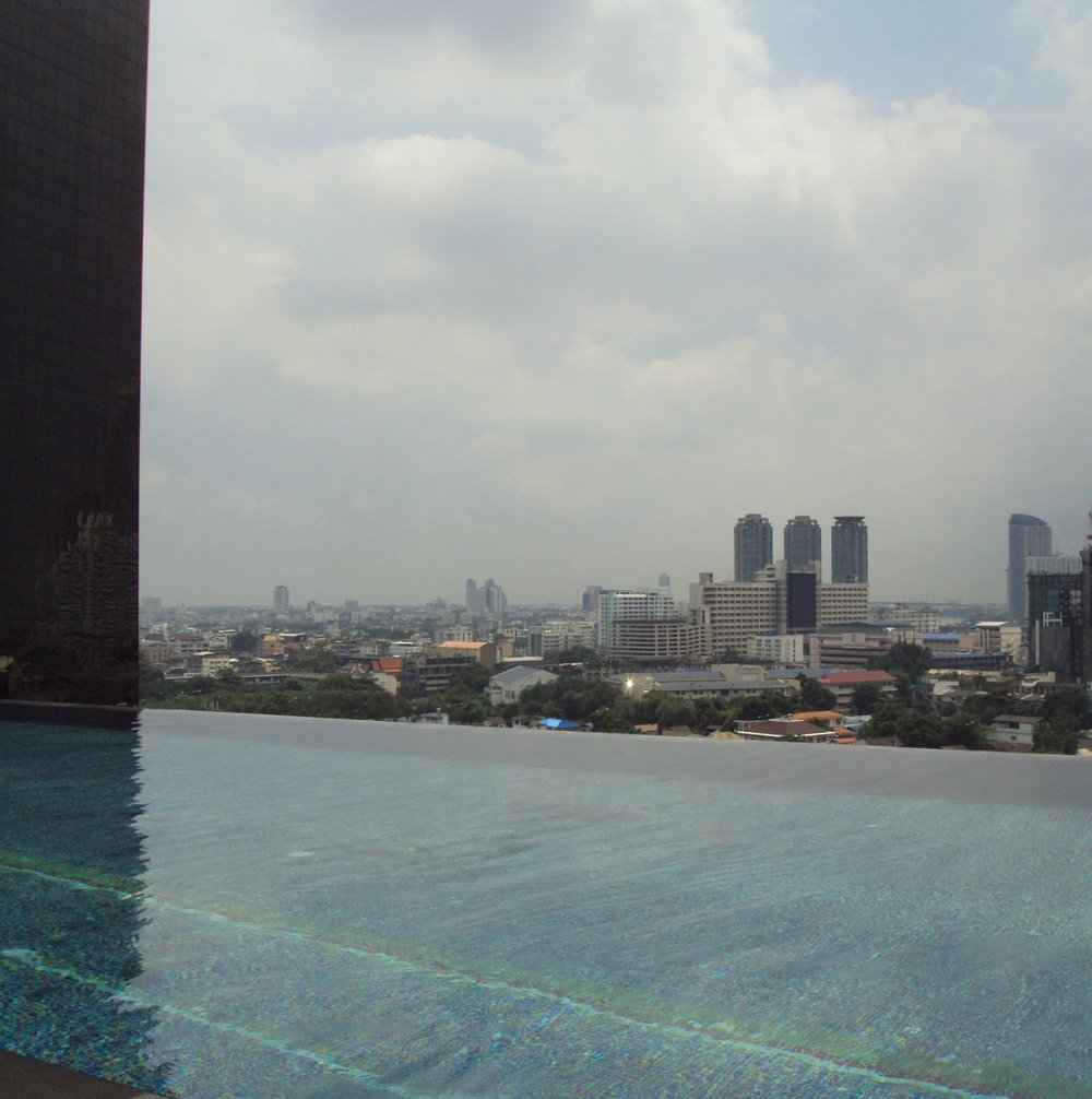 View of Bangkok from the infinity pool.