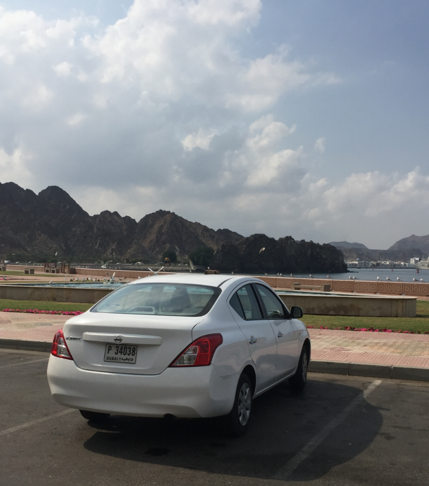 Our rental car in Muscat, Oman