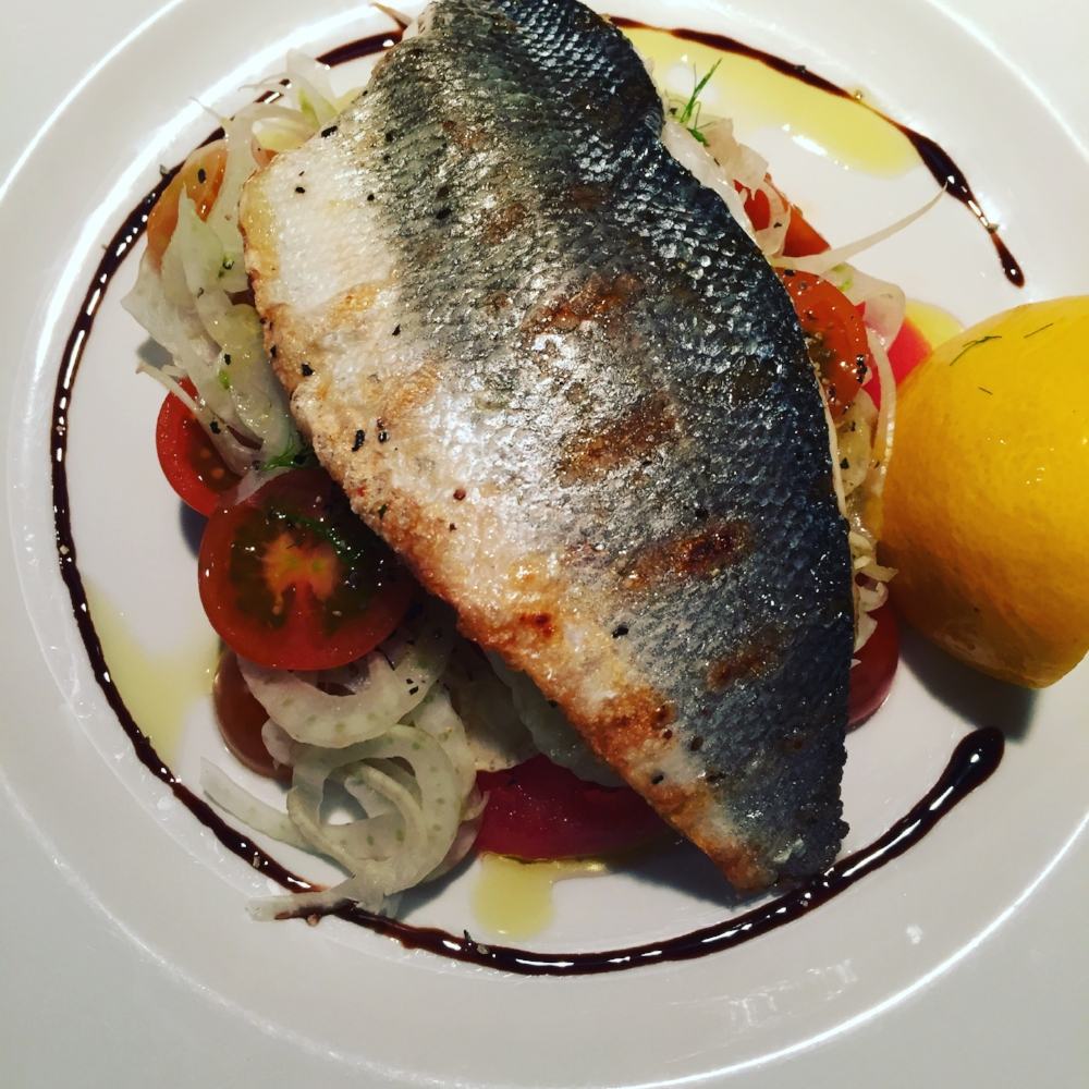 Carrie's grilled fish with fennel and tomato salad