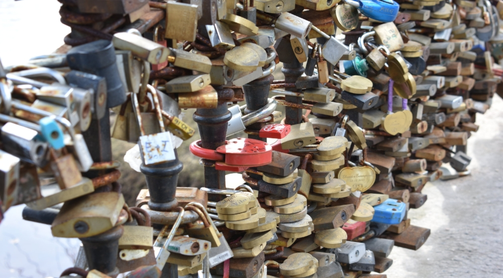 Locks on a bridge in Bastejkalns Park
