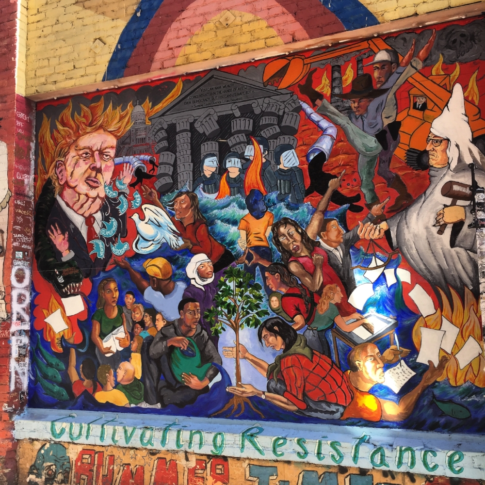 One of the many murals of Clarion Alley