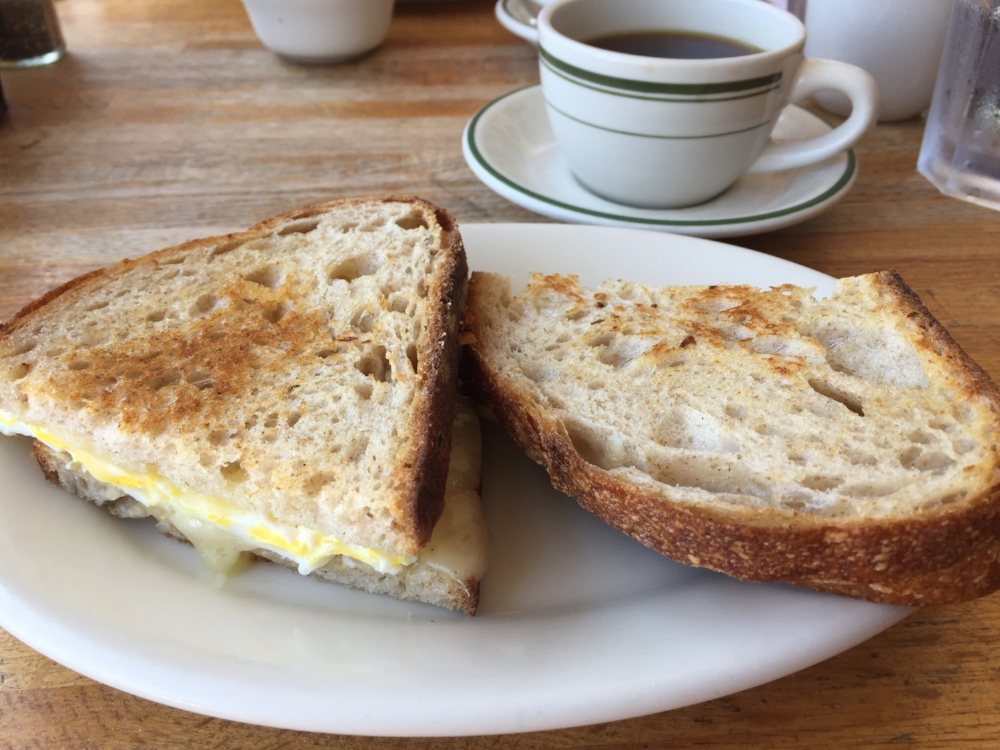 Albert's griddled egg and cheese sandwich