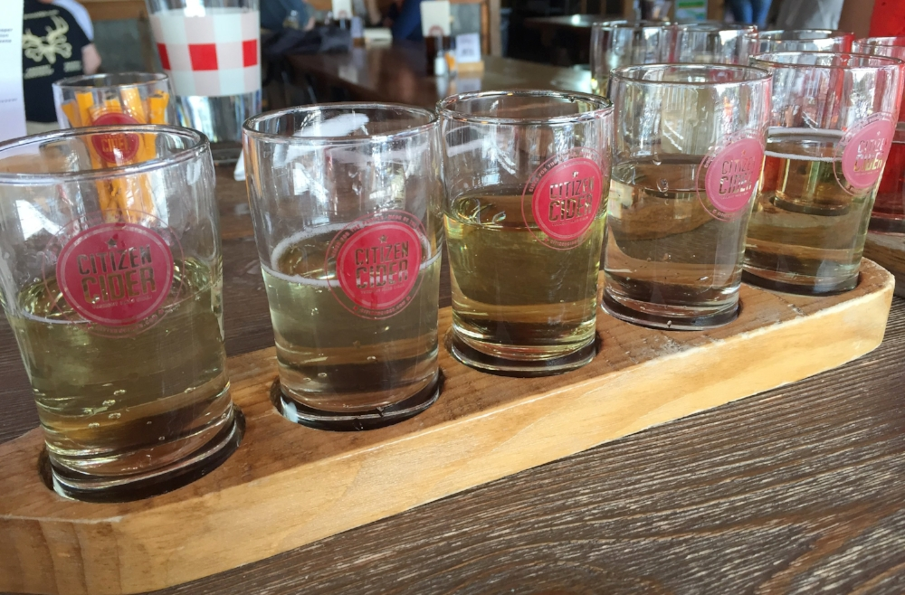 Cider flight at Citizen Cider