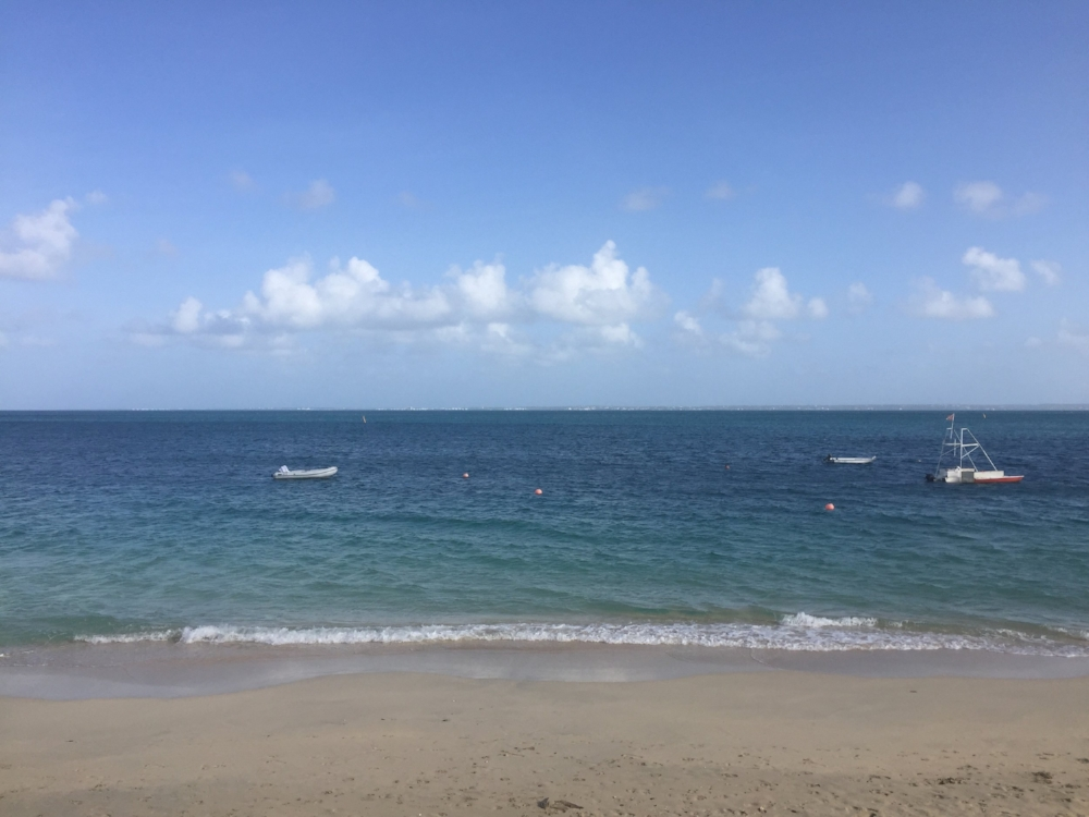 Anguilla can be seen on the horizon from the balcony of our room in Grand Case, Saint Martin