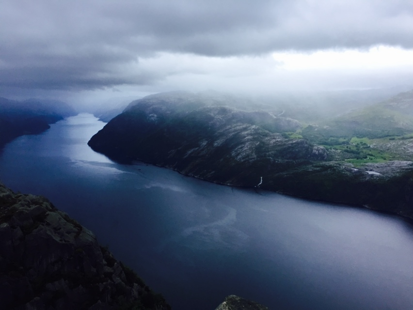 View of Lysefjord from the top of Preikestolen (Pulpit Rock)