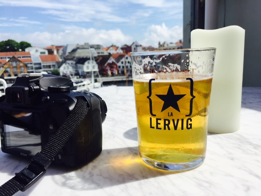 View of Stavanger (well mostly my beer) from the rooftop at Tango Bar