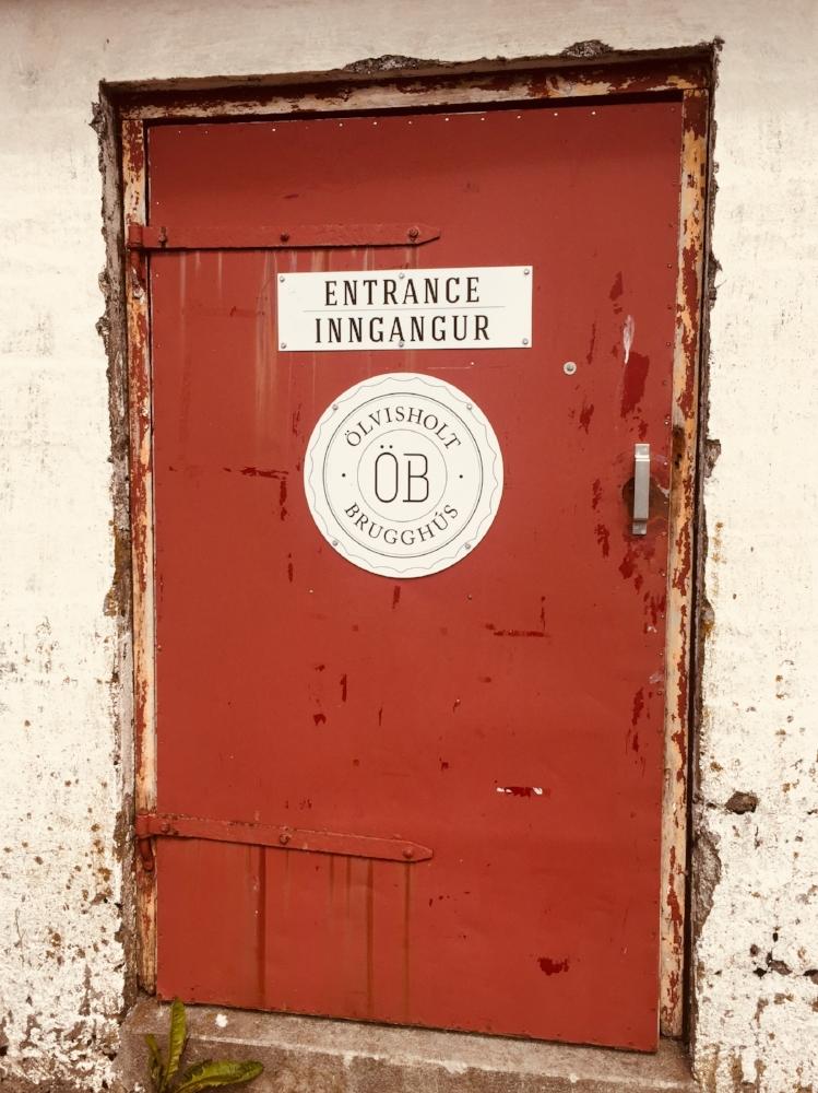 The entrance to Ölvisholt Brugghús brewery