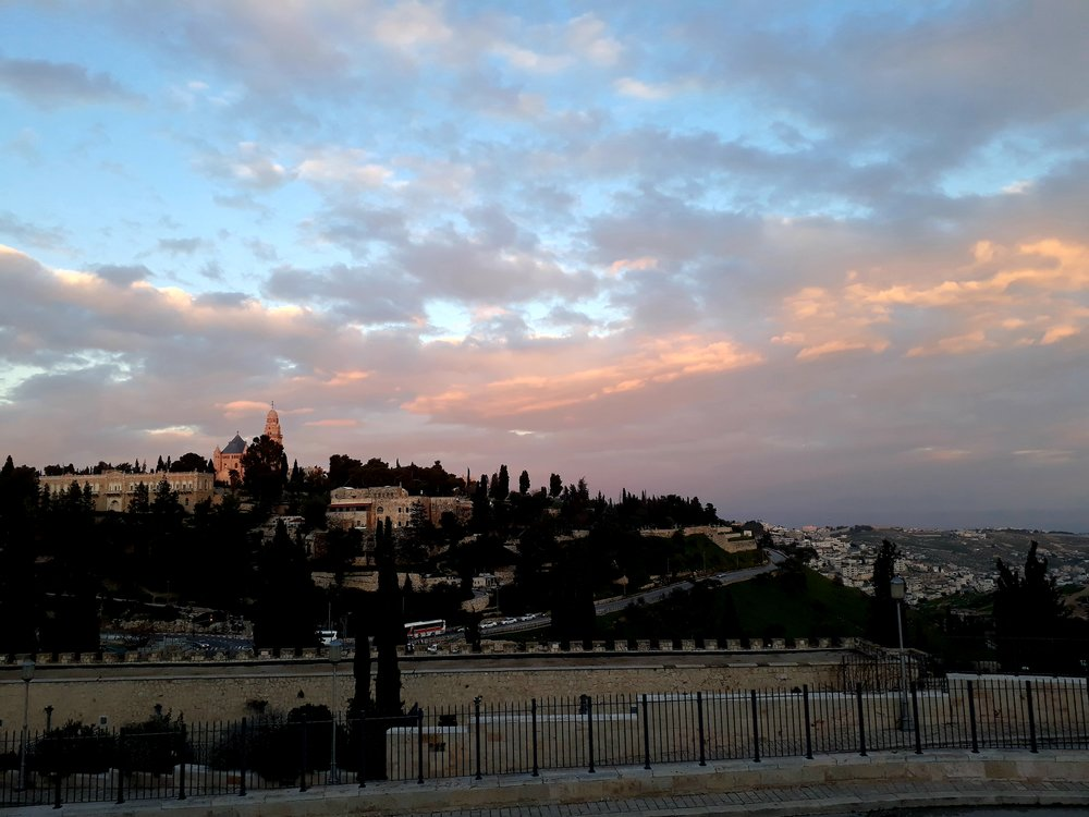 Sunset over the old city of Jerusalem