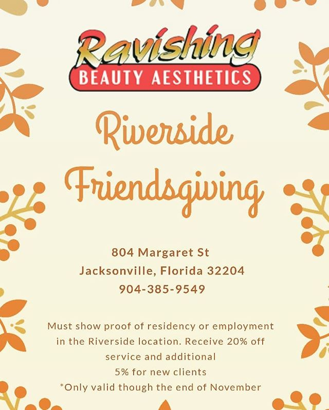 We are thankful to be in our new Riverside neighborhood. We would like to show our appreciation with a Riverside Friendsgiving. Call us today to schedule your service. 20% for Riverside residents and businesses and additional 5% for new clients  #rbaspa #relaxation #holidays #riverside #jacksonville
