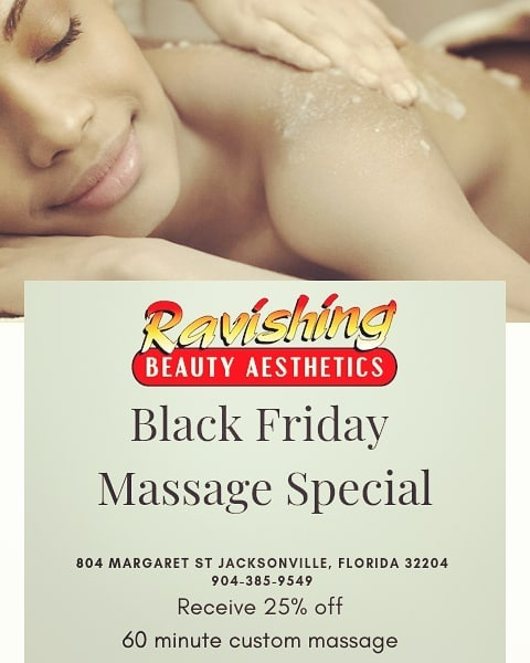 Save 25% on a customized 60 minute massage! Book online at www.RBAspa.com to take advantage of this deal for only $60 which is a dollar a minute!! #rbaspa #blackfridaydeal #massage #riversidejax