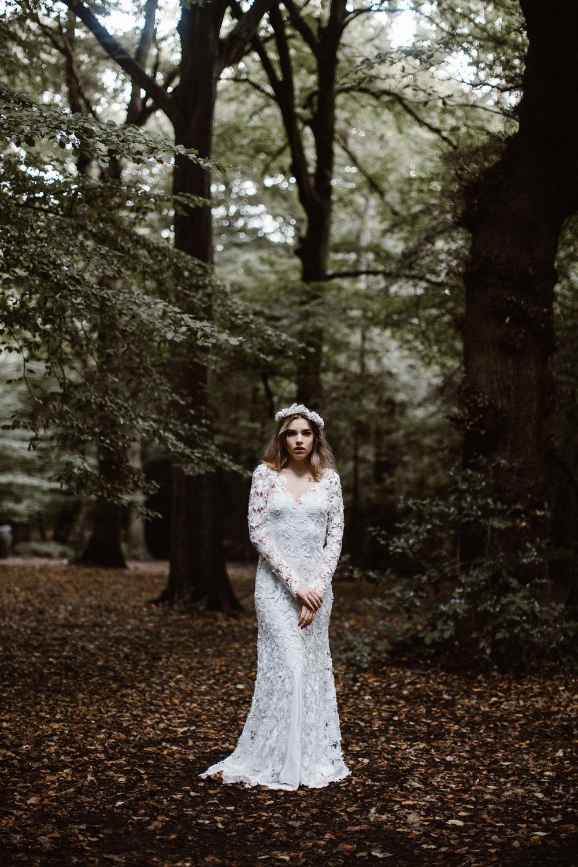 P River and Fern M Narcisa Music B Ali Price F Hattie Flowers L HighGate Wood,London Luna Bea Bride head piece Rose Lace gown & Matte silk bias slip gown