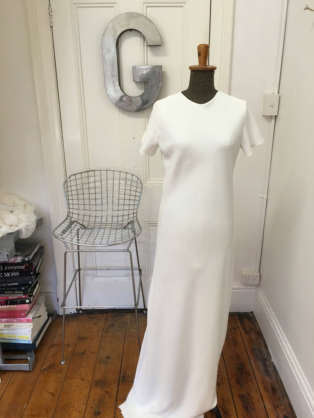 T-shirt bias cut gown  Double layer 40mm Natural Silk $3400