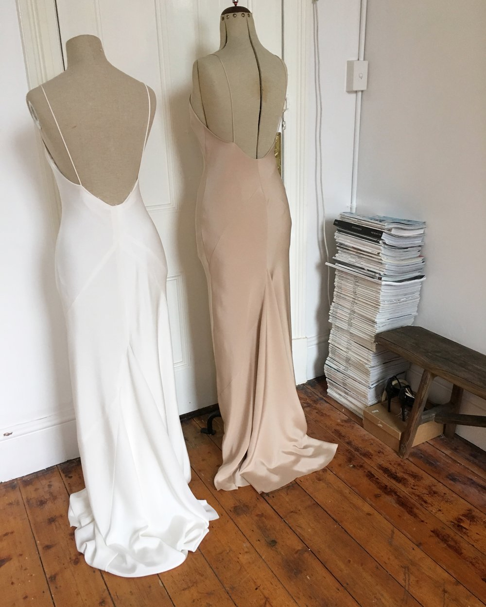 Slip bias cut gown Double layer 40mm Natural or Blush silk $3400