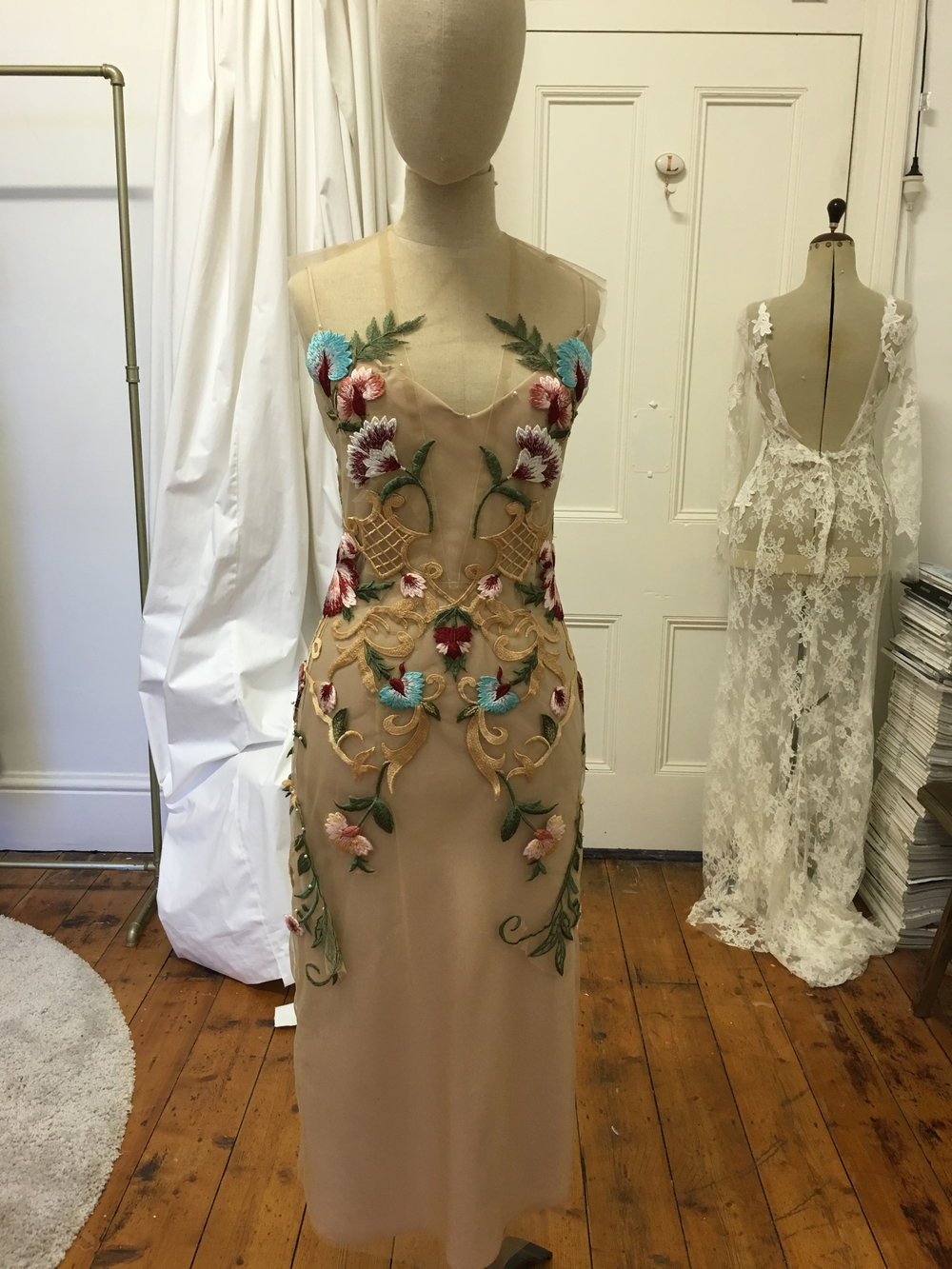 Floral Embroidery Midi Gown Worn with a slip bias cut gown in blush P.O.A starting at $3500