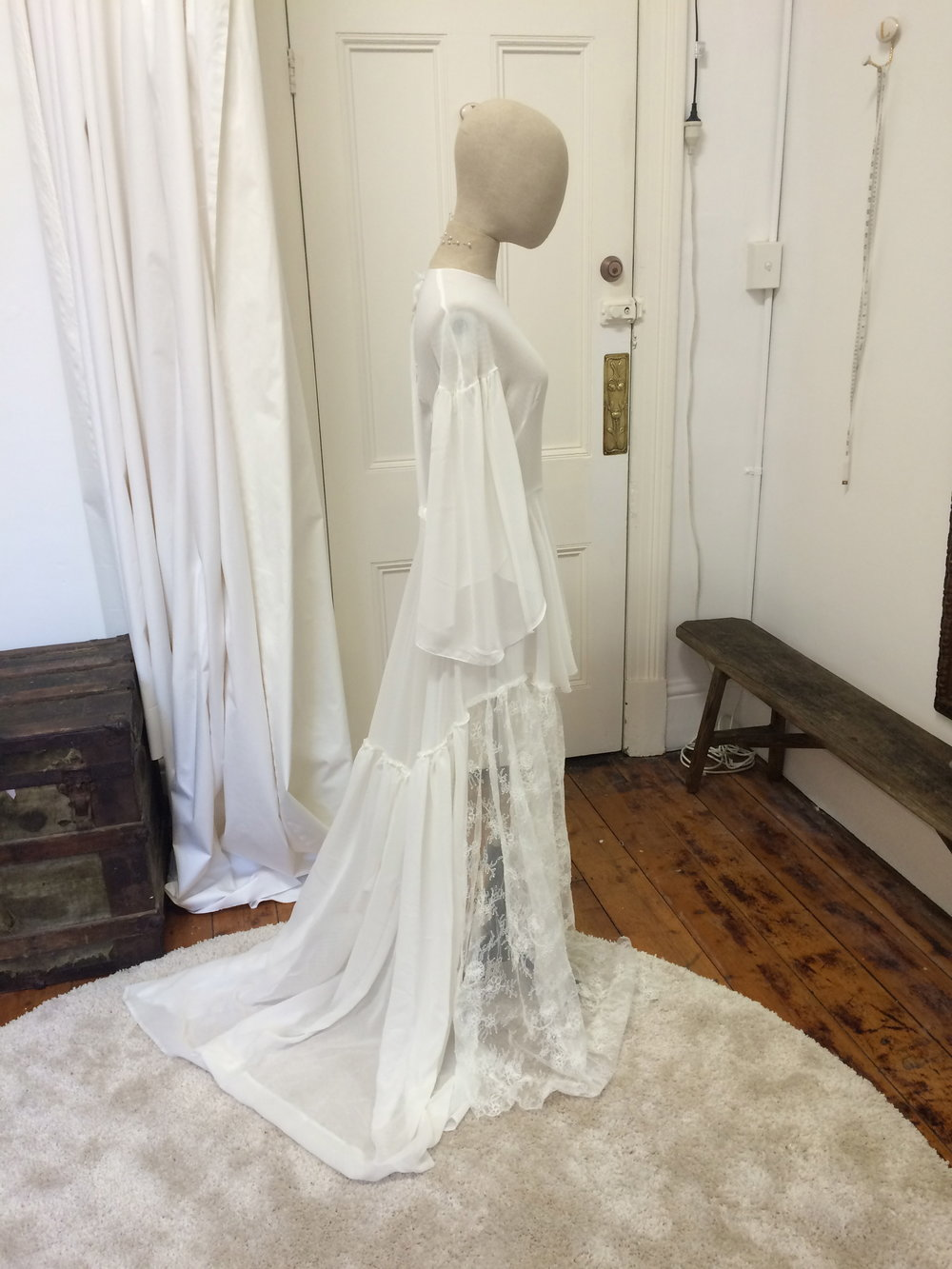 Vintage georgette flowing gown Worn with a slip bias cut gown P.O.A