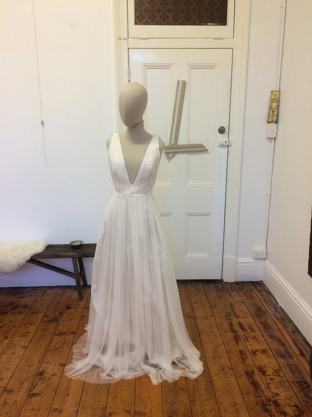 Tulle gown Bone silky tulle overlay,Bone harlow silk lining Price on application