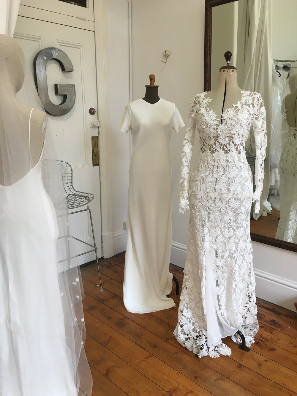 Slip bias cut gown T-shirt bias cut gown Rose guipuire gown, bralet & georgette skirt
