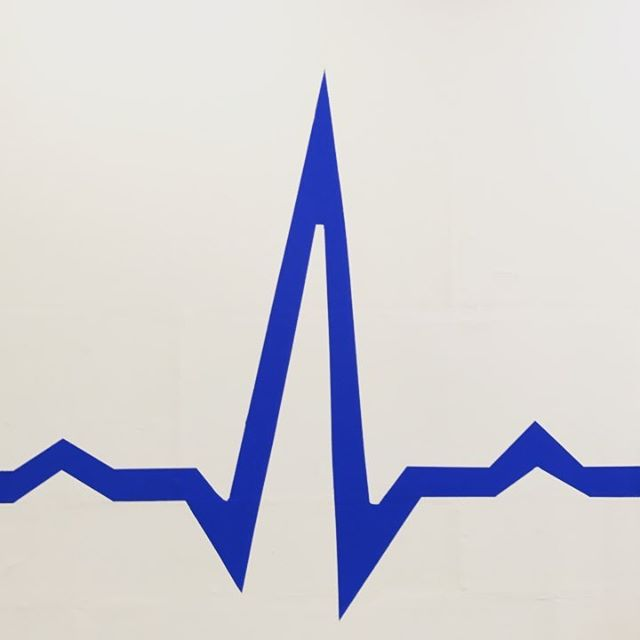 Handpainted on our new 20ft high wall! #ekg #physiology #heartrate #3daystofinish #welike #checkitout