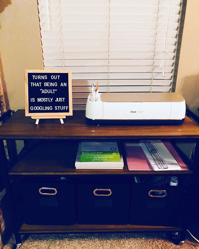 New craft cart next to my desk! Totally hooked on my Cricut Maker lol #cricutmaker #creative