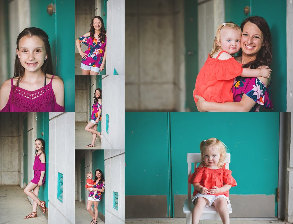 Cheryl Logan Photography Bold and Colorful Portraits with Teal Wall.