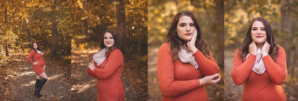 Fall Senior Session Burnt Orange Dress at Bee Tree Park
