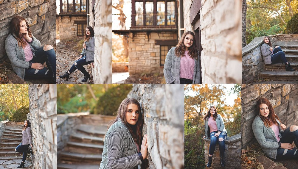 Senior Sessions with Stone Wall and Stairs.