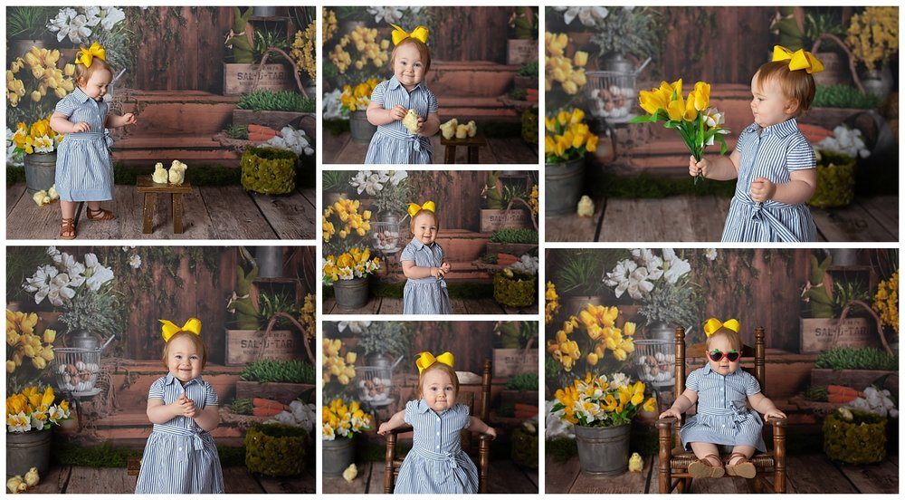 Spring Portrait with Toddler and Yellow Flowers
