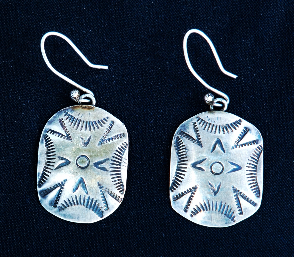 Silver Hand Stamped Earrings - NAVAJO