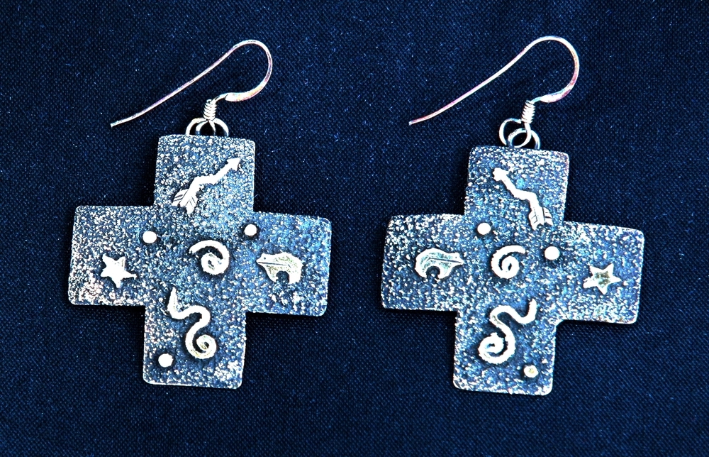 Silver Cross Earrings - NAVAJO