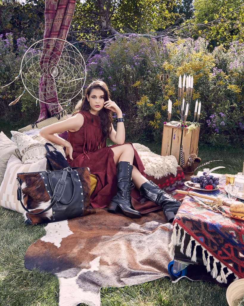 CLARET SUEDE CROP TANK WITH FRINGE $525  CLARET SUEDE LONG A-LINE SKIRT WITH FRONT SLIT $995  ROCK'N GEM NARROW LEATHER CUFF $95  ASPEN DAY BAG $395.00 ASPEN WEEKENDER BAG $895