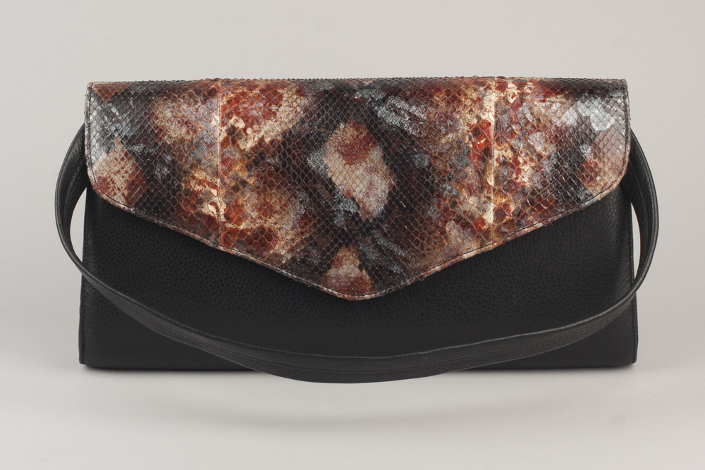 Painted Python Clutch - Black
