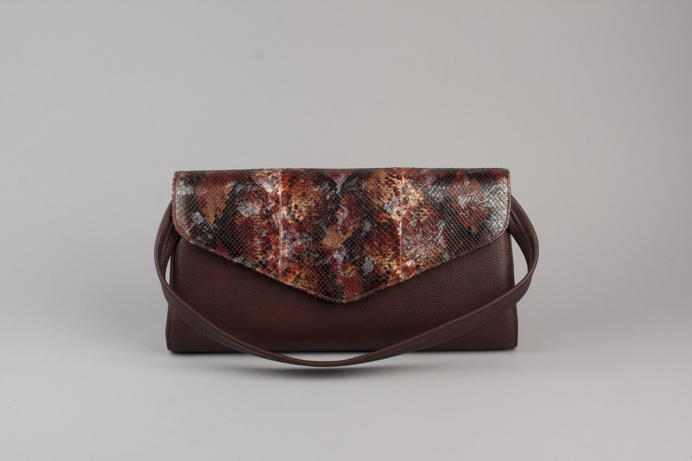 Painted Python Clutch - Mahogany