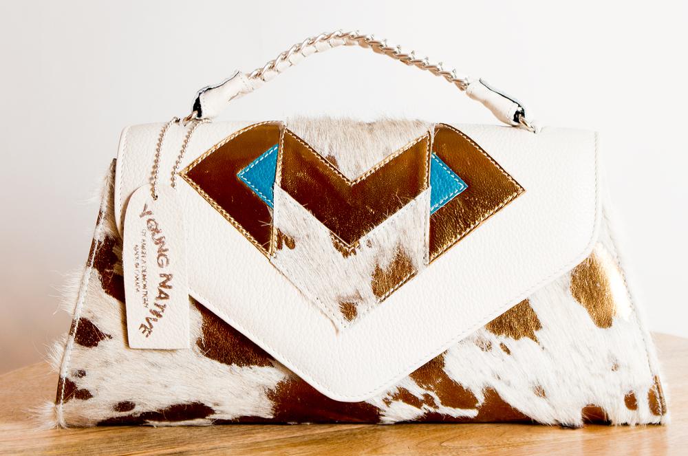 4 Elements Clutch - White/Bronze/Turquoise
