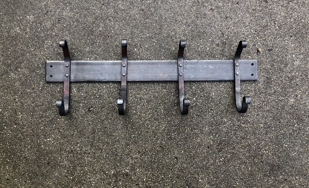 Four-hooked coat rack, mild steel, 2018