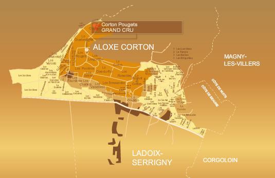 Aloxe Corton wine map