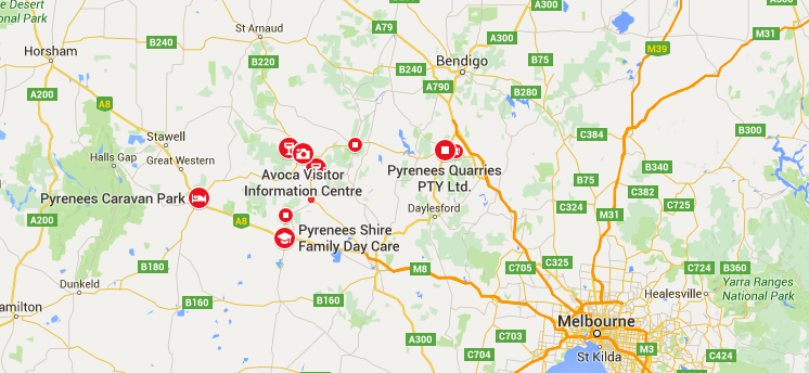 pyrenees victoria wine region map