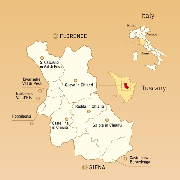 Chianti wine region with sub regions Tuscany Italy
