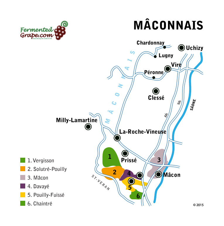 Mâconnais wine map by fermentedgrape.com