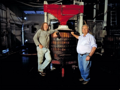 d'Arry and Chester D'Arenberg with basket press