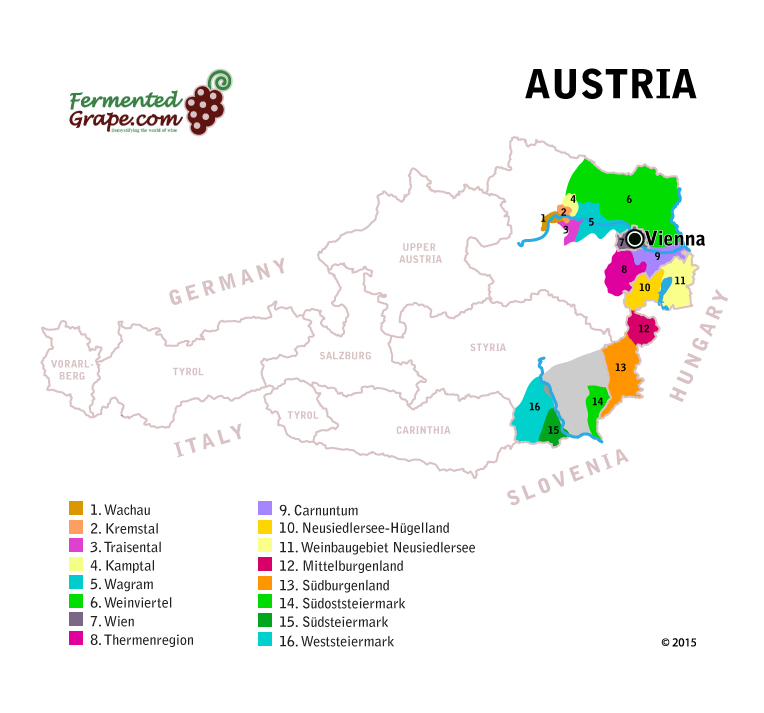 Austrian wine map by FermentedGrape.com