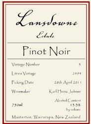 Lansdowne Estate Pinot Noir 2011