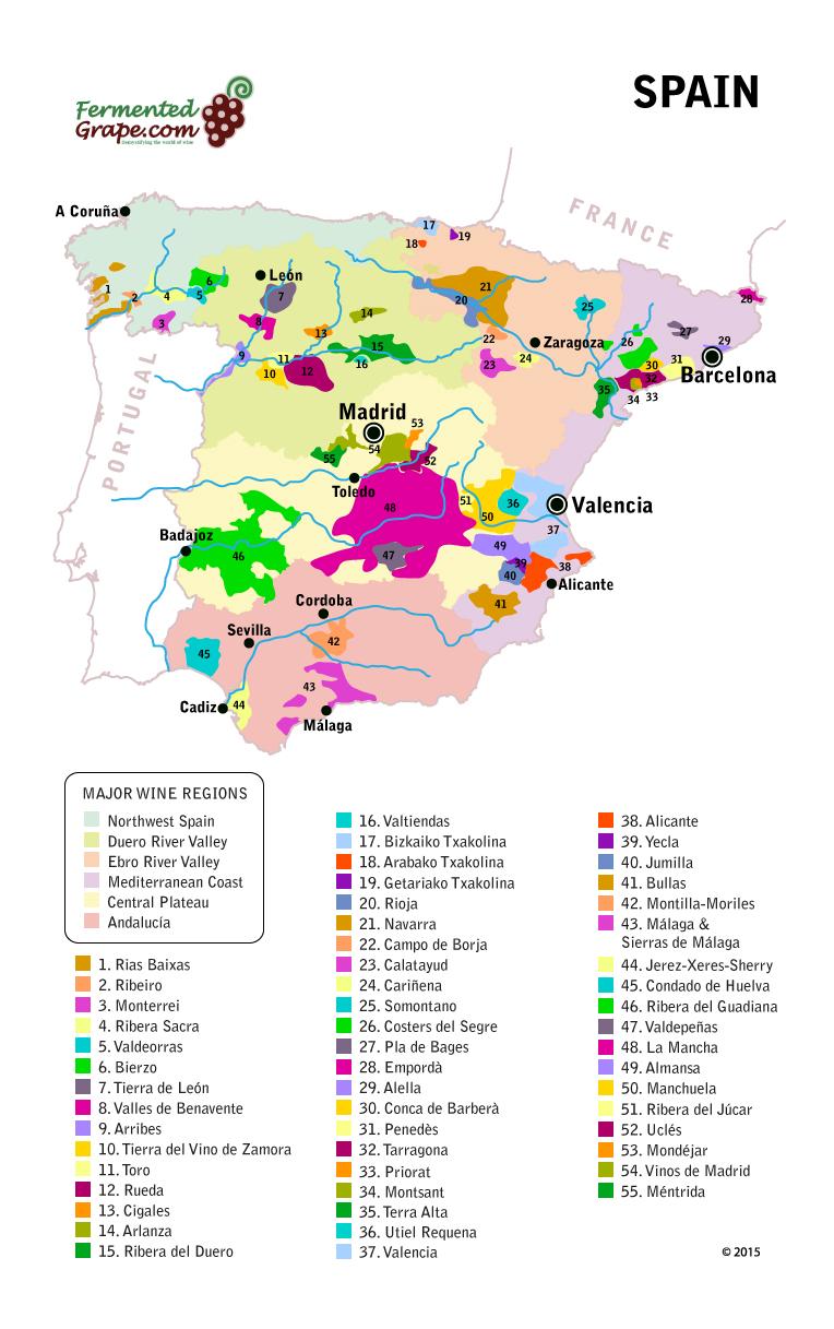 Calatayud Spain Map.Spanish Wine Map Fermented Grape The World Of Wine