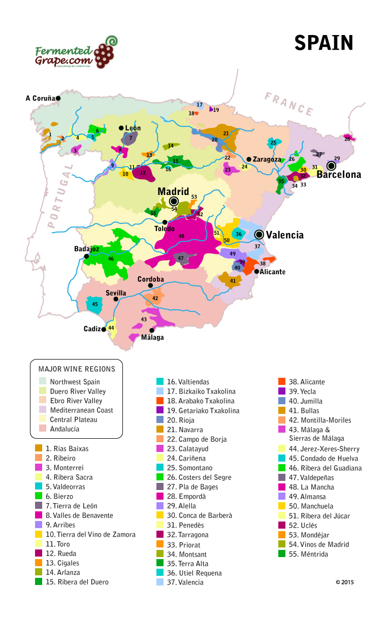 Spanish wine map by FermentedGrape.com