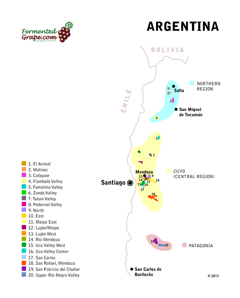 Argentine Wine Map by FermentedGrape.com
