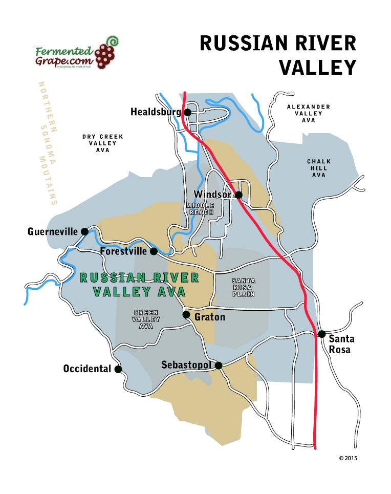 Russian River Valley AVA wine map by FermentedGrape.com